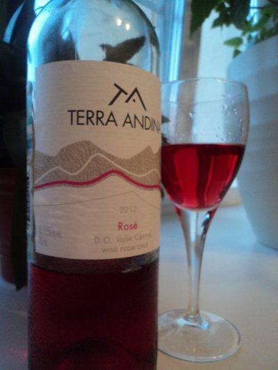 чилийское полусухое розовое вино терра андина розе бутылка и бокал
