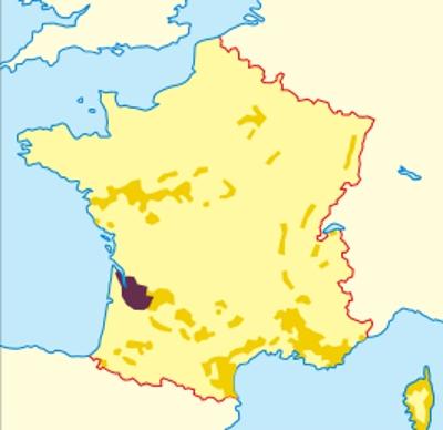 Регион Бордо на карте (bordeaux)